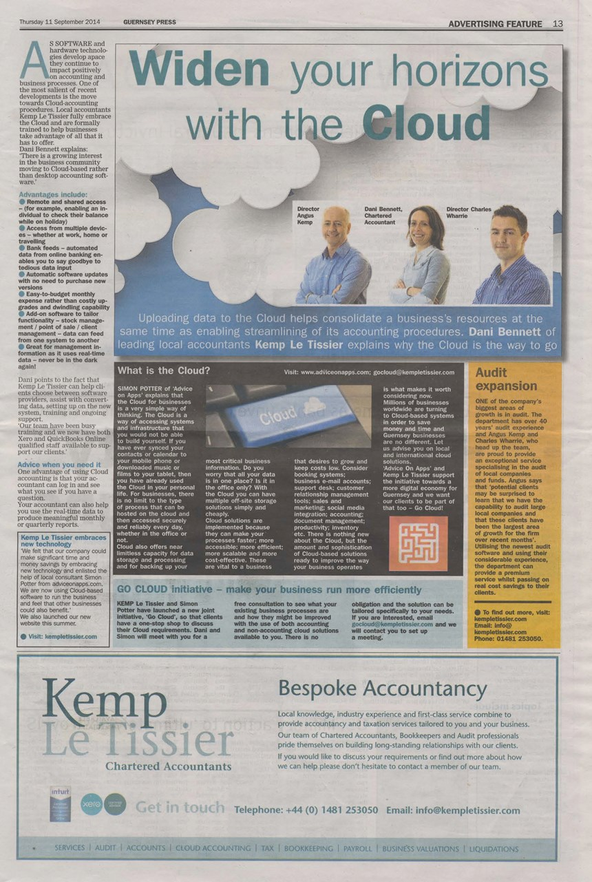 Guernsey Press advert September 2014